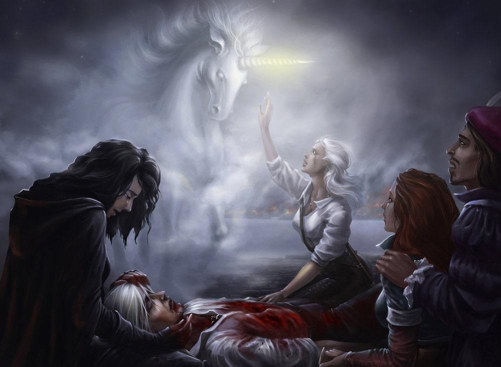 Йеннифер пытается исцелить умирающего Геральта